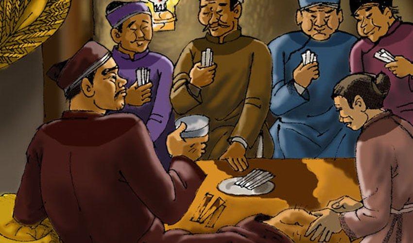 Bọn quan lại vô trách nhiệm ung dung ngồi đánh bài