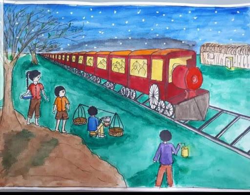 Phân tích hình ảnh đoàn tàu trong hai đứa trẻ
