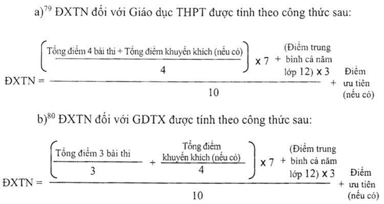 Công thức tính điểm xét tốt nghiệp THPT